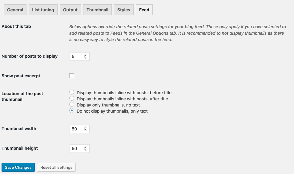 Contextual Related Posts Feed Settings
