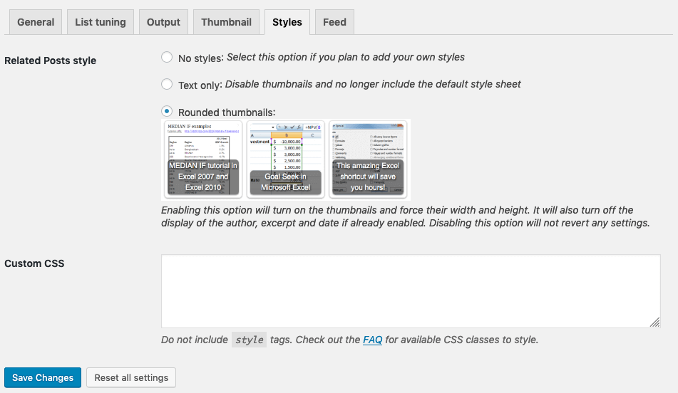 Contextual Related Posts Styles Settings