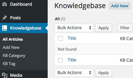 Knowledgebase Menu in WordPress Admin
