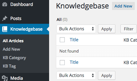 Knowledgebase Menu