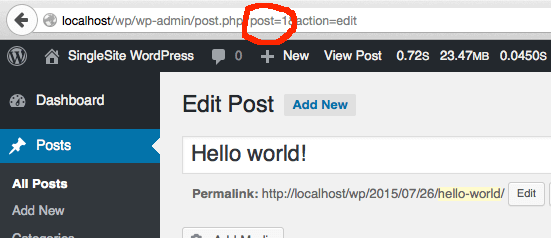 Find the post ID in WordPress
