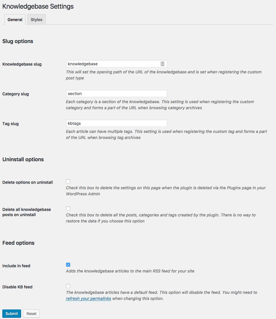 Knowledgebase v1.4.0 General Settings