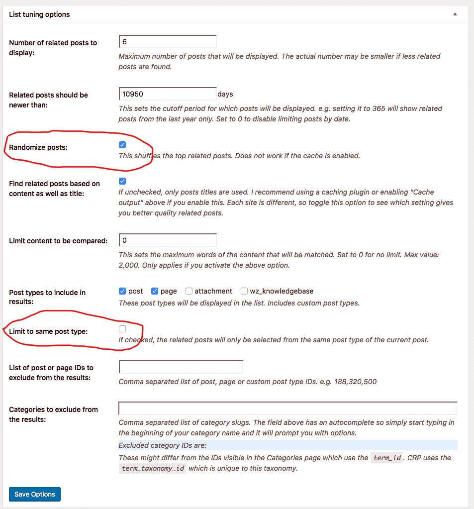 Contextual Related Posts v2.4.0 - List tuning options