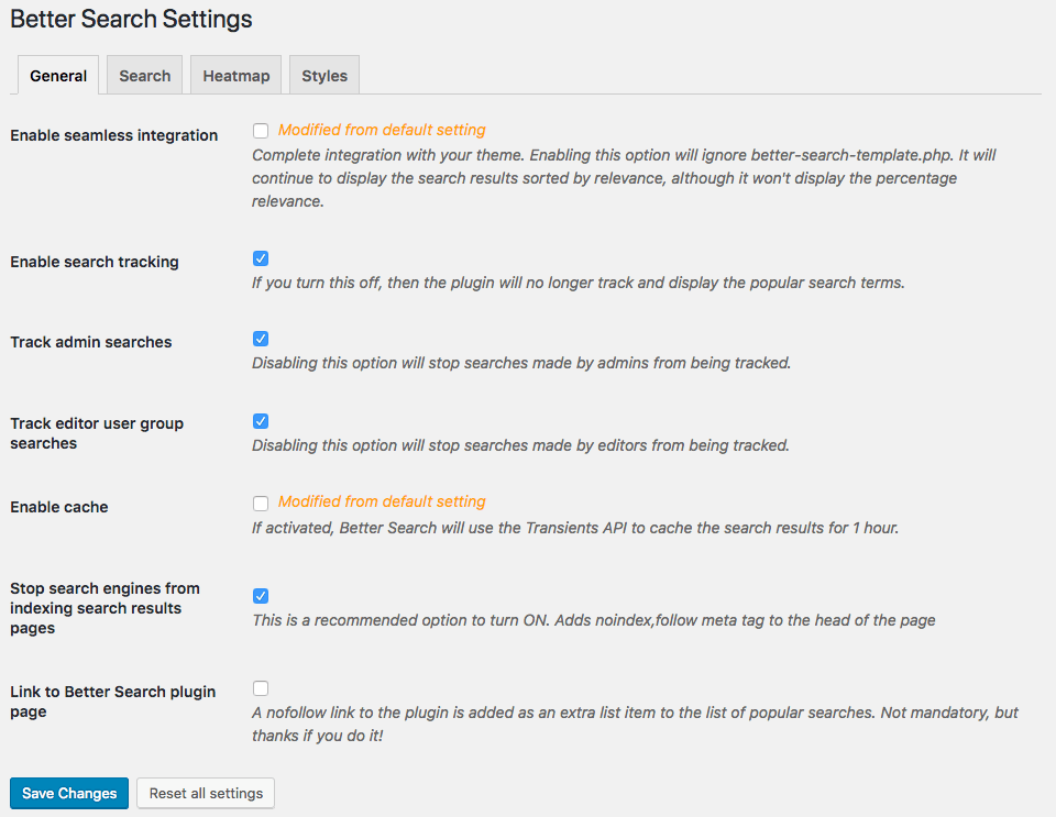 Better Search v2.2 - Settings API