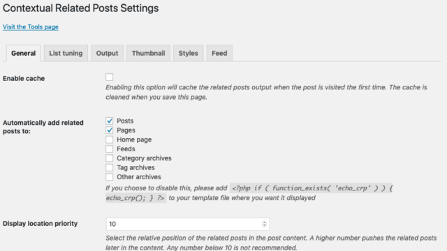 Contextual Related Posts v2.6.0 - Getting options