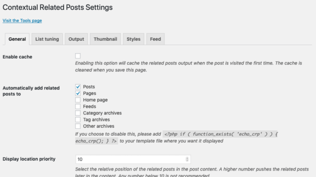 Contextual Related Posts v2.6.1 - General settings