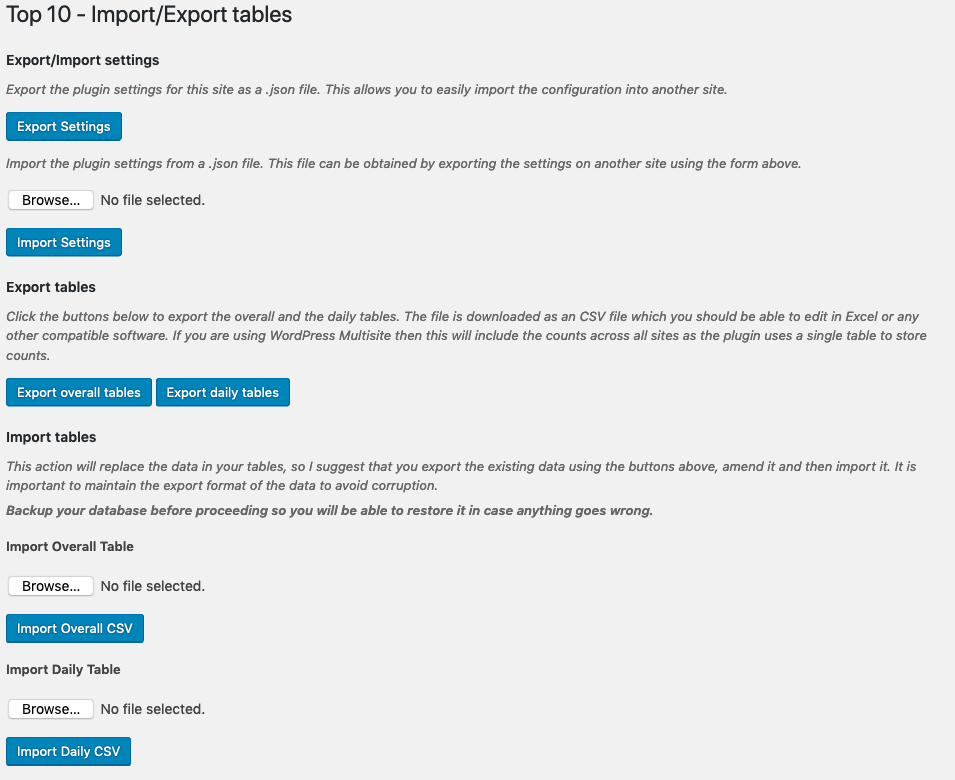 Top 10 v2.7.0 - Import Export Interface