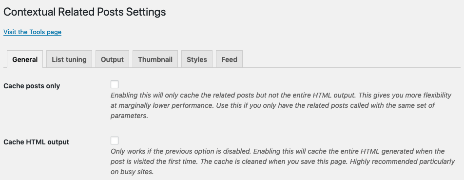 Caching options in Contextual Related Posts v2.7.0