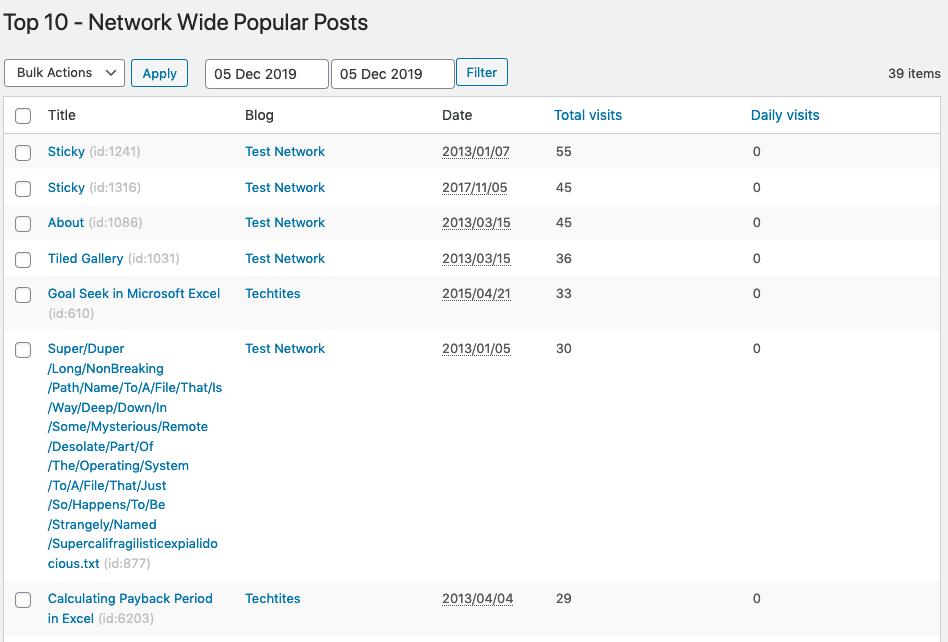 Top 10 v2.8.0 - Network-wide popular posts