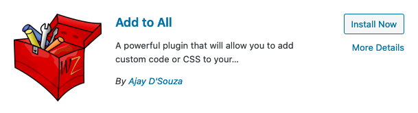 Install Add to All WordPress plugin