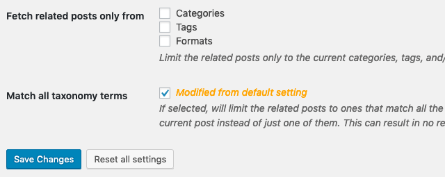 Related Posts by Categories and Tags - General settings